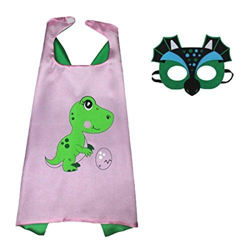 HBOS Superhelden Dinosaurier Kostüm für Kinder - Capes und Masken - Superhelden Party Kinder-Karnevalskostüme, Kinder-Faschingskostüme, Geburtstags-Geschenk Weihnachts-Geschenk (Kleinkind Pink Drachen Kostüm)