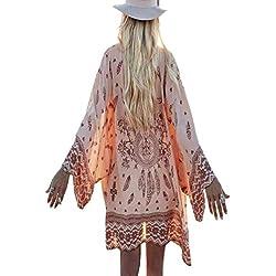 Abrigos Mujer Invierno Rebajas Pullover Largos Las Blusas Rebeca Kimono del Chal Flojo Gasa Impresa De Boho Cubren La Blusa (Rosado, S)