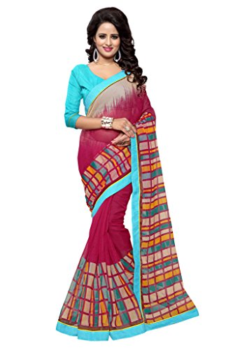 SOURBH Women's Art Silk (Super Net) Geometric Printed Saree (2358_Magenta,Multicolor)  available at amazon for Rs.695