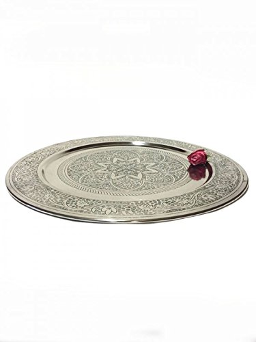 Marokkanischer Tisch Beistelltisch aus Metall Sule ø 60cm rund   Orientalischer kleiner runder Teetisch mit klappbaren Gestell in Schwarz   Das Tablett diese