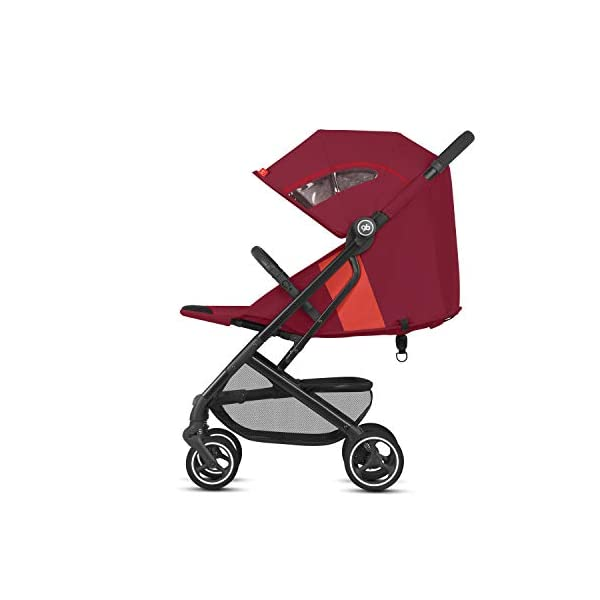gb Gold Qbit+ All-City Compact Pushchair, Lie-Flat Reclining Seat, from Birth to 17 kg (Approx. 4 Years), Black Frame, Rose Red GB High-quality and stable compact pushchair for newborns up to approx. 17 kg (approx. 4 years) with one-hand folding mechanism and full flat lying position Optimum comfort for children of all sizes: One-hand adjustable backrest and leg rest, Head and shoulder pads for extra comfort, Easy pushing on flat surfaces thanks to single wheels on front and rear, Four wheel suspension, Swivelling and lockable front wheels Simple folding with one-hand folding mechanism to compact travel size of L:27x W:43x H:58 cm, Can be used as 3-in-1 travel system with separately available adapter for gb or CYBEX infant car seats and Cot to Go pushchair attachment 2