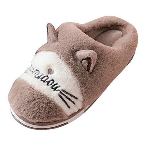 Dorical Winter Cartoon Hausschuhe für Unisex, Baby Cartoon Katze Hausschuhe Plüsch Winter Warme Kuschelige Pantoffeln Bequeme Weich Indoor Hausschuhe für Herren Damen Jungen Mädchen(Kaffee,42/43 EU) -