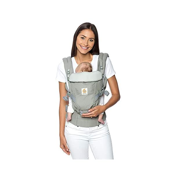 Ergo Baby Ergobaby Original Adapt Cool Air Mesh Baby Carrier Pearl Grey Ergobaby Baby Carrier for newborns – The ergonomic bucket seat gradually adjusts to your growing baby, to ensure baby is seated in a natural frog-leg position (M-shape position) from birth to toddler (3.2 to 20kg / 7-45lbs). NEW – Now with lumbar support. Long-wearing comfort for parents with even weight distribution between hips and shoulders. Lumbar support waistbelt that can be adjusted to the height of the carry position for extra, long-wearing comfort. Adapt 3carry positions: front-inward, hip and back. The carrier has a padded, foldable head and neck support and a tuck-away baby hood for sun protection (UPF50+) and privacy. It is possible to breastfeed in the carrier. 4