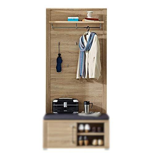 GO Garderobenleiste in Sonoma Eiche Optik - Moderne Hutablage & zuverlässige Wandhaken für Jacken & Taschen - 90 x 196 x 27 cm (B/H/T)