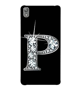 Alphabet P Hard Polycarbonate Designer Back Case Cover for Sony Xperia E5 Dual :: Sony Xperia E5