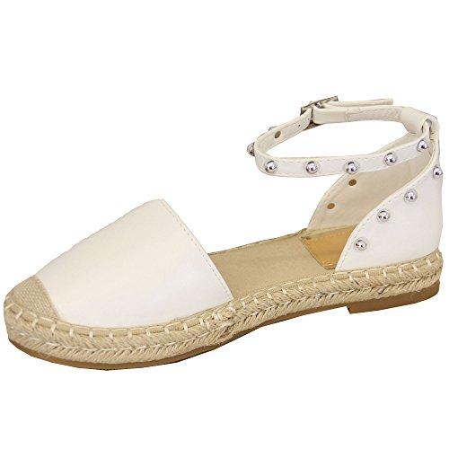 Mcm Femmes Cheville Strappy Low Sandales Femmes Espadrilles Studs Chaussures Summer Fashion Blanc - 7718
