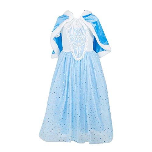 ELSA & ANNA® Mädchen Prinzessin Kleid Verrücktes Kleid Partei Kostüm Outfit DE-FBA-CNDR6 (3-4 Jahre - Size Code 10, DE-CNDR6)