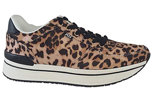 Xti 49132 - Zapato Leopardo de Cordones con Piso Deportivo (38 EU, Leopardo Camel)