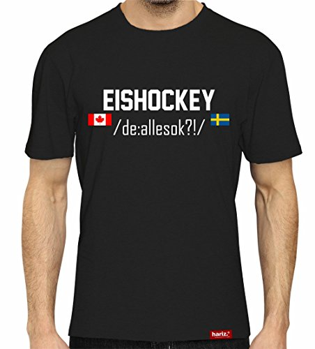 HARIZ  Eishockey DE:/allesokay///Original T-Shirt - Schwarz, XS-4XXL//Germany | Pyeongchang | Trikot | Medaille | Icehockey #Eishockey Deutschland Collection Black M