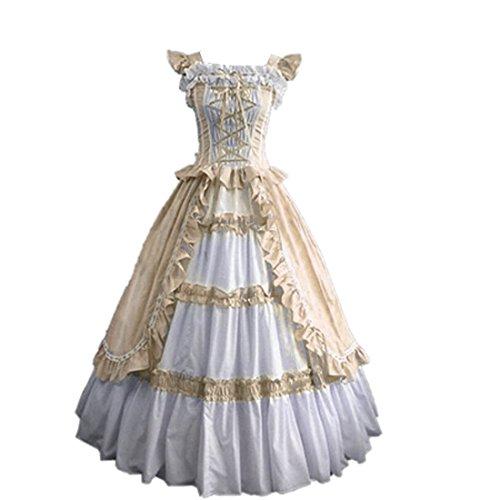 Partiss Damen Kurzarm Ruffles Aufwaendige gotische Lolita Kleid