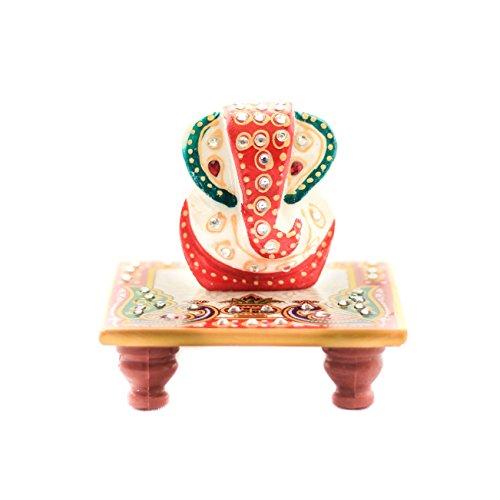 RamaBhakta marble ganesh chowki (10.16 cm * 10.16 cm *6.35 cm , White)  available at amazon for Rs.155