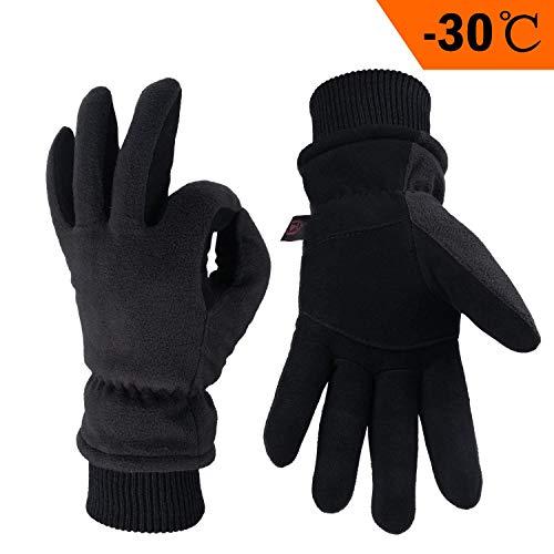 OZERO Winterhandschuhe,Thermal Winddicht Lederhandschuhe,1 Paar
