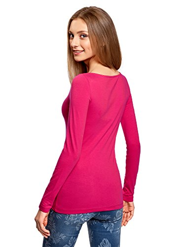 oodji Collection Femme T-Shirt Manches Longues Rose (4701N)