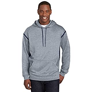 Sport-Tek® Tech Fleece Colorblock Hooded Sweatshirt. F246 Grey Heather/True Navy