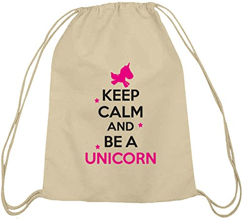 Shirtstreet24, Keep Calm And Be A Unicorn, Einhorn Baumwoll natur Turnbeutel Rucksack Sport Beutel Natur