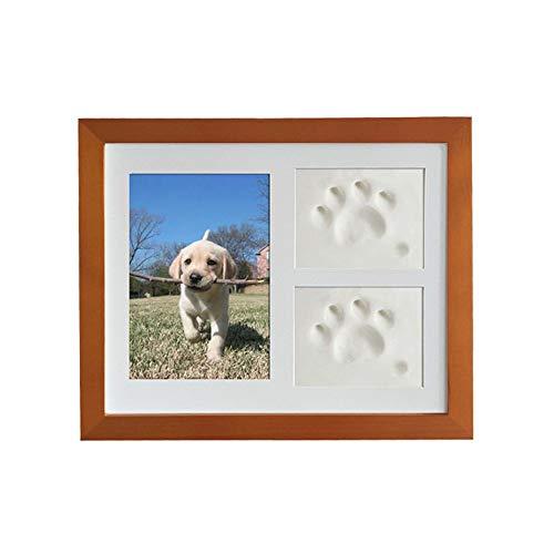 JunBo Marco de Fotos para Perros y Gatos Marco de Fotos para Mascota con Arcillas para Huellas (Cafe)