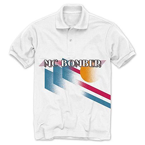 MC Bomber - Bomber Sonne - Offizielles Herren T-Shirt (Polo) - Weiß, Small - Bomber-t-shirt Aus Baumwolle