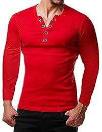 ZIYOU Sport Sweatshirt Herren Pulli mit V-Ausschnitt Männer Slim fit Langarm Shirt Pullover mit Knopf