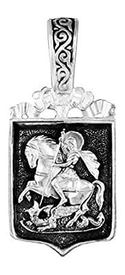"""'Anhänger Russische Orthodoxe in Form von Wappen Saint Georges nach dem Drachen Silber. """"Saint Georges Betet für uns dm98"""