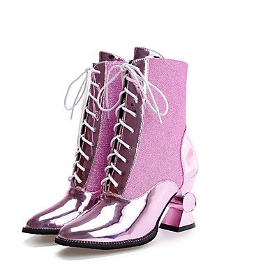 Wuyulunbi @ Mujeres Zapatos De Invierno Botas De Combate De Microfibra Botas Botines / Botas De Tobillo Ropa Casual Fiesta Y Noche Champagne Blushing Rose Gold Us5.5 / Eu36 / Uk3.5 / Cn35