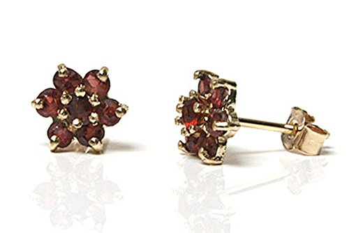 Peninsula Jewellery Damen Ohrstecker Blumen 9 Karat (375) Gold Granat