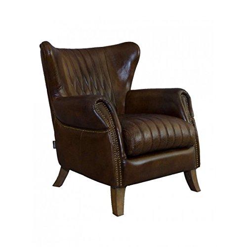Ohrensessel Enfield Vintage Leder Vintage Cigar Messingnieten Echtleder Sessel