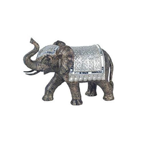CAPRILO Figura Decorativa de Resina Elefante con Manto y Gorro. Adornos y...