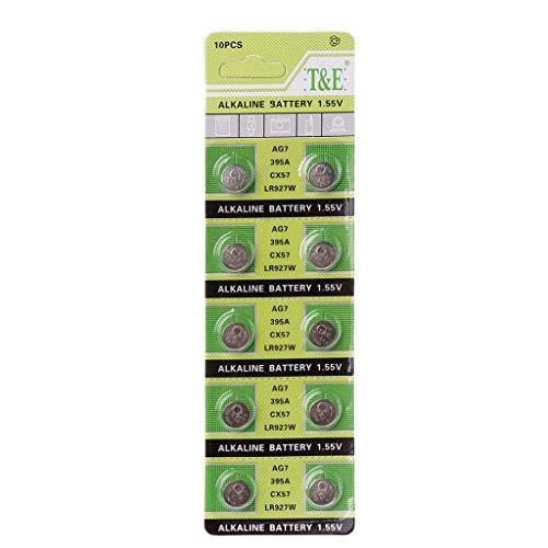 VvXx 10PCS Alkaline Battery AG7 1.55V Button Coin Cell Watch Batteries LR927 LR57 SR927W 399 GR927 395A