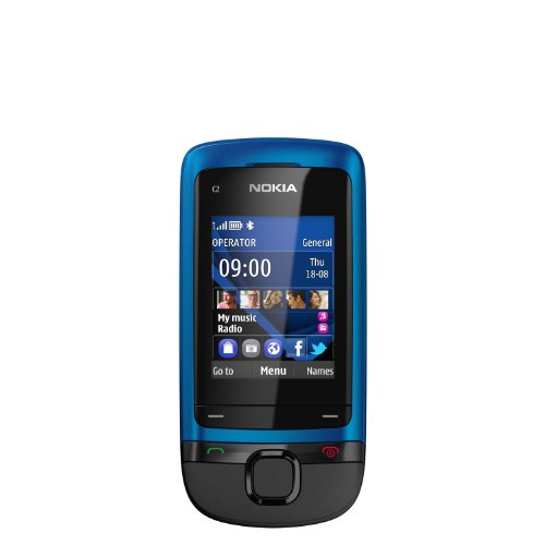 Nokia C2-05 téléphone à clavier coulissant bleu