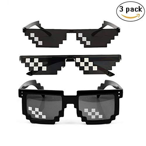 3 Pack Gafas Pixeladas Gafas de Sol Thug Life Mosaico Ojo Desgaste Unisex