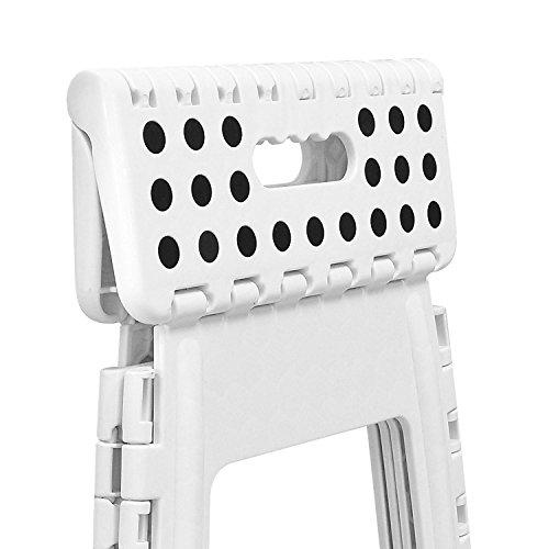 Tabouret Marche Pied Pliant multifonction pliable en plastique pour un rangement facile Cuisine Gripper pieds en caoutchouc antidérapant