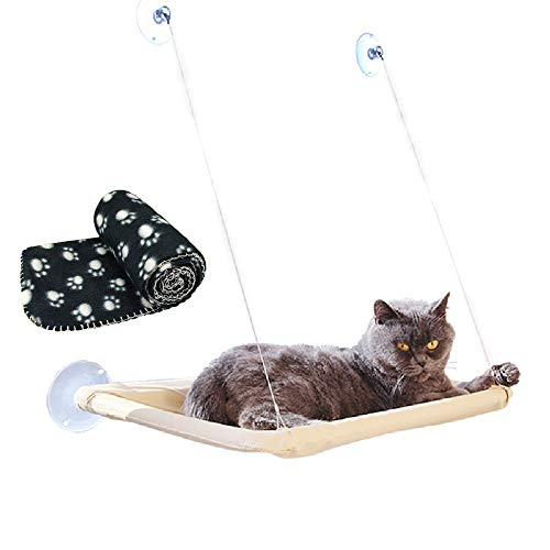 JZK Mounted window hammock for cat + cat blanket, pet pendant bed suckers and black blanket for cat perch