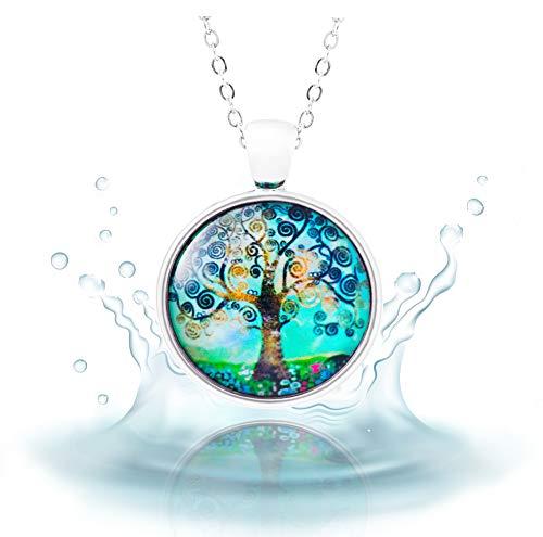 Klimisy - Árbol de la Vida opalo - Collar Colgante con Impresionante Imagen Artística - Amuleto de Cristal en una Elegante Cadena Ajustable - En una Bonita Caja de Regalo