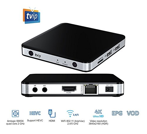 TVIP S-Box v.605 IPTV 4K HEVC HD Android 6.0 Linux Multimedia Stalker IP TV Streamer 1GB RAM + 8GB eMMC, MicroSD Card, ext.IR inkl. 5GHz Wlan Ext Tv