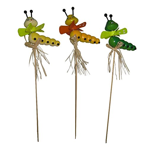Reila 53364222 - Pack of 3 Picks wood worms with propeller, Assorted Colors