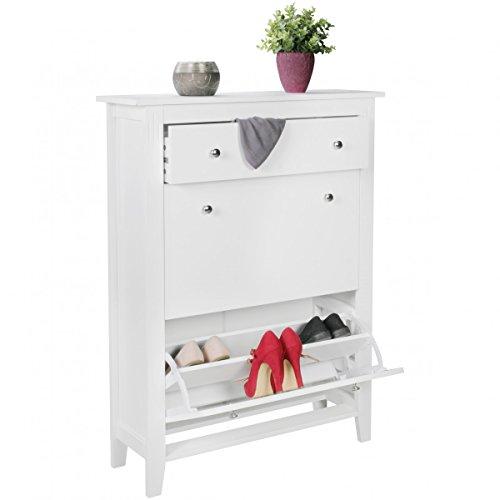 FineBuy moderner Design Schuhschrank LINUS weiß 12 Paar Schuhe 2 Fächer 1 Schub | Schuhkipper 80 x...