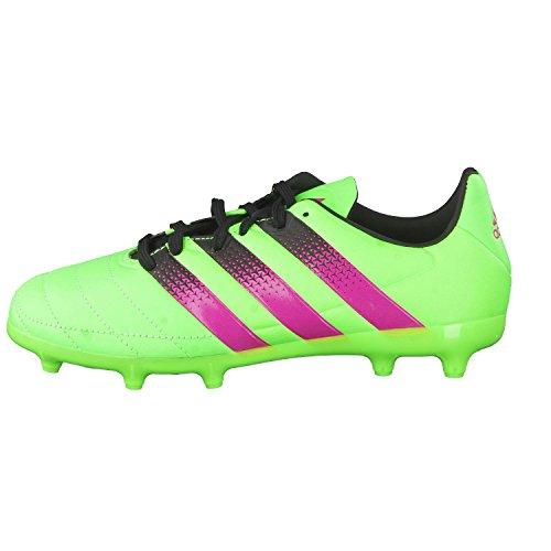 adidas Ace 16.3 Fg/Ag J Leather, Chaussures de Football Mixte Bébé Vert / Rose / Noir (Versol / Rosimp / Negbas)