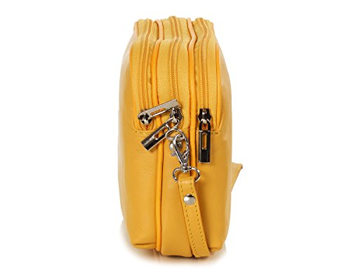 Taschenloft kleine italienische Damen Umhängetasche aus weichem Nappa Leder (20x16x9cm) Gelb