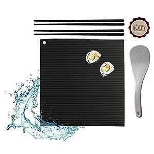 UrbanLite (Neu) Sushi Set Zum Selbermachen - Hygienisch, Anti-Haft, Abwaschbar - mit Silikon Matte Zum Rollen, 2 Paar Silikon Stäbchen Plus Bonus Reislöffel