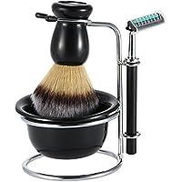 Anself Juego afeitado Set seco/mojado de hombres de Titular de afeitar+Maquinilla de afeitar+Cuenco de jabón+Brocha de afeitar de tejón