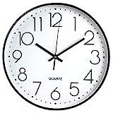Tebery 30 cm Reloj de Pared sin Tic TAC, Modern, silenciosa, Gran Esfera Negro