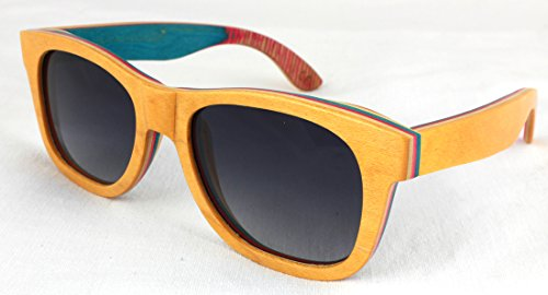 Carbn Sonnenbrille Beige/Orange,Skateboard,Skateboardholz,Leimholz,Sunglasses,Holz,Wood,Öko,Natur,Bio,Holzoptik,Fellas (Braun) (Beige/Orange)