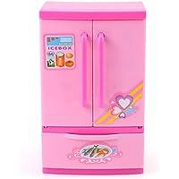 Refrigerador de Cocina Artificial Rosa Mini Frigorífico Refrigerador para Niños Con Mom Play Alimentos y Cajón Niños Juego de Rol Educativo Juguete de Electrodomésticos