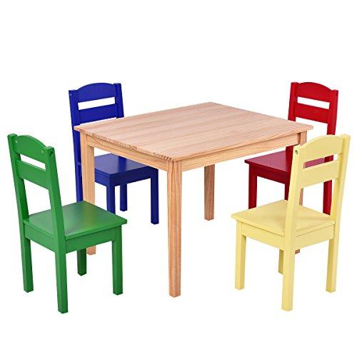 COSTWAY 5 TLG. Kindersitzgruppe, Kindertischgruppe, Kindertisch mit 4 Stühlen, Kindermöbel aus Kiefer, Holzsitzgruppe für Mädchen und Jungen (Bunt)