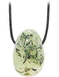 Kaltner Präsente Unisex-collar con colgante de piedra Prehnite piedrapreciosa de tambor correa de piel en el collar de cuero (30 mm)