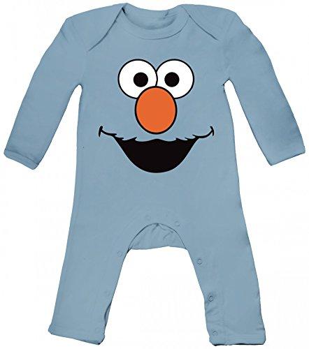 ShirtStreet Karneval Fasching Verkleidung Baby Strampler Langarm Schlafanzug Jungen Mädchen Red Monster, Größe: 6-12 Monate,Dusty Blue