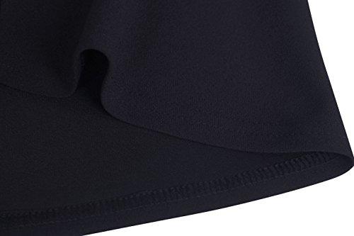 ZJCTUO Damen Kleid Abendkleid Schulterfreies Cocktailkleid Jerseykleid Skaterkleid Knielang Elegant Festlich Asymmetrisches Partykleid- Gr. 42 (XL), Schwarz - 7