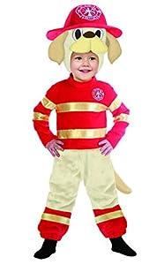 FIORI PAOLO 61347-Cachorro Perro bombero disfraz niño, 3-4años, rojo