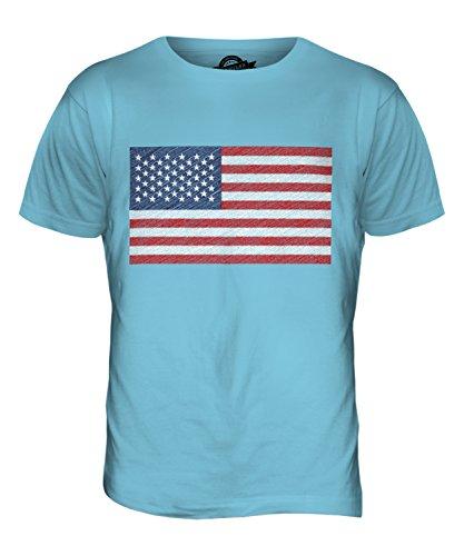 CandyMix Vereinigte Staaten Usa Sternenbanner Kritzelte Flagge Herren T Shirt Himmelblau
