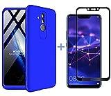 AILZH Huawei Mate 20 lite Hülle+Gehärteter Glas Folie 360 Grad HandyHülle PC Hartschale Anti-Schock Schutzhülle Anti-Kratz Stoßfänger Bumper 360° Cover Case matt Schutzkasten(Blau)